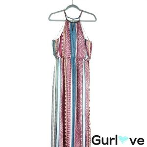 As U Wish Multicolor Halter Aztec Print Maxi Dress